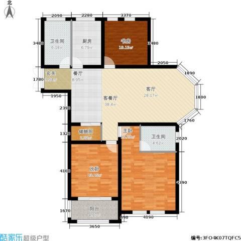 欧风丽苑3室1厅2卫1厨120.00㎡户型图