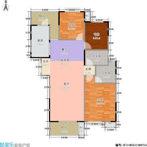 天启花园3室0厅2卫1厨108.00㎡户型图