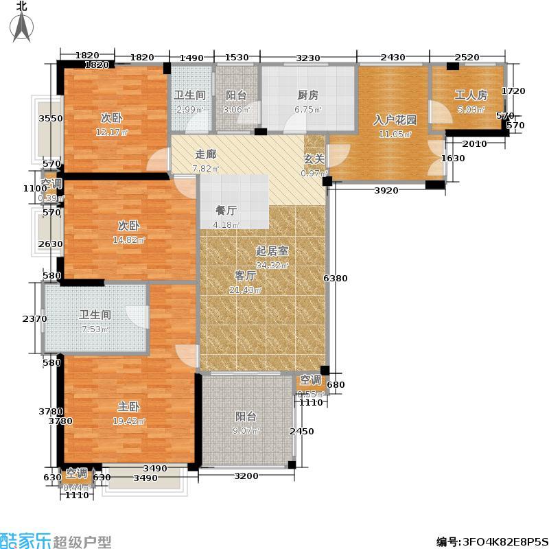 地标广场户型3室2卫1厨