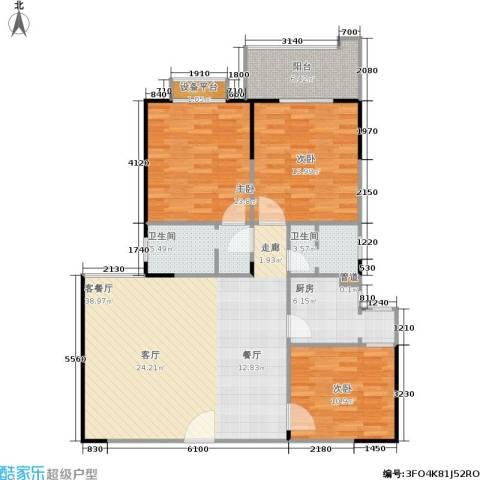 百盛・天心华庭3室1厅2卫1厨129.00㎡户型图