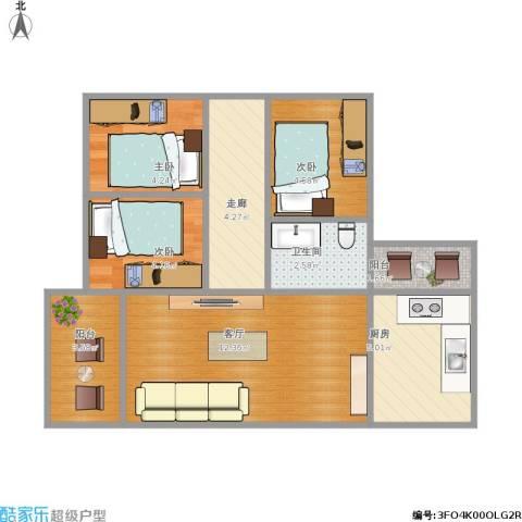 香晖园3室1厅1卫1厨59.00㎡户型图