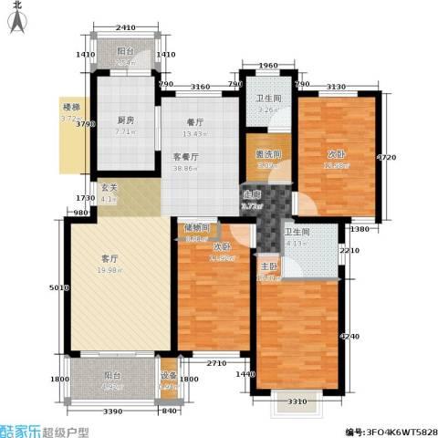 东兰兴城惠兰苑3室1厅2卫1厨151.00㎡户型图