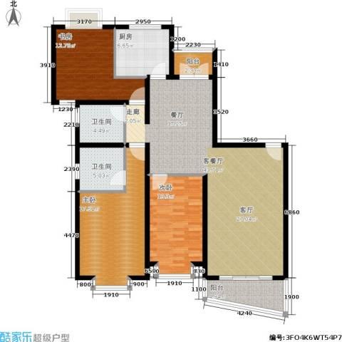 东兰兴城惠兰苑3室1厅2卫1厨158.00㎡户型图
