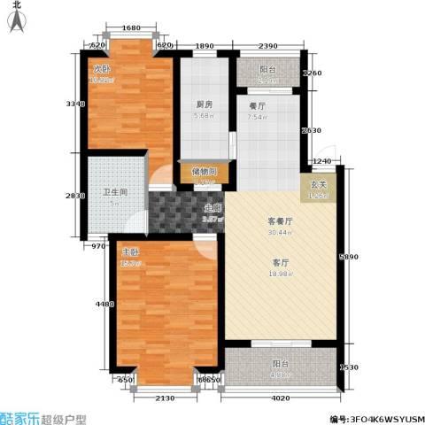 广海花园一、二期2室1厅1卫1厨110.00㎡户型图