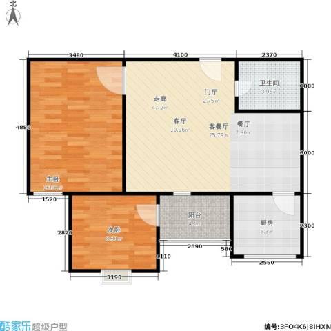 万华园 丽景华都2室1厅1卫1厨70.00㎡户型图