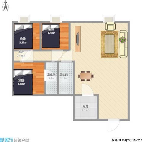 星晨花园一期3室1厅2卫1厨58.00㎡户型图