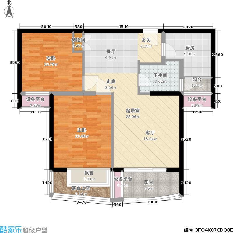 翡翠国际社区86.00㎡房型户型