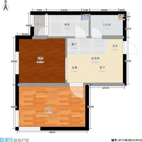鑫丰又一城2室0厅1卫1厨61.00㎡户型图