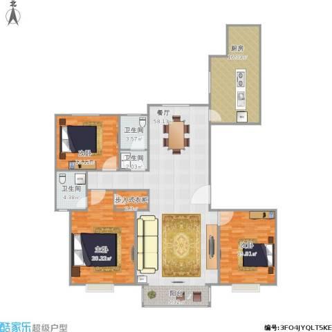 天润国际城3室1厅3卫1厨181.00㎡户型图
