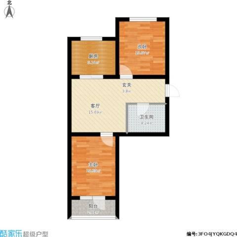 中央公馆2室1厅1卫1厨72.00㎡户型图