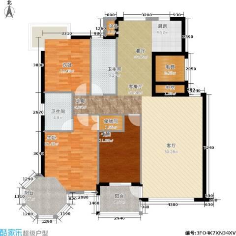 中央公馆3室1厅2卫0厨125.00㎡户型图