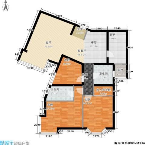 城建花园3室1厅2卫1厨154.00㎡户型图
