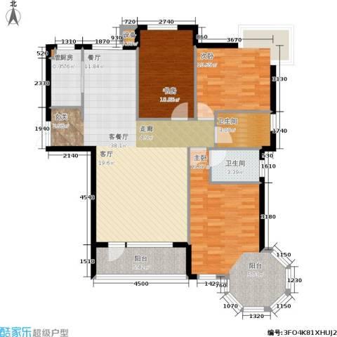 中央公馆3室1厅2卫1厨125.00㎡户型图