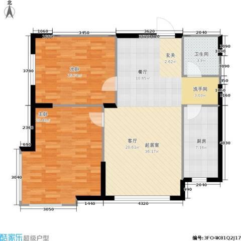 南石源居2室0厅1卫1厨90.00㎡户型图