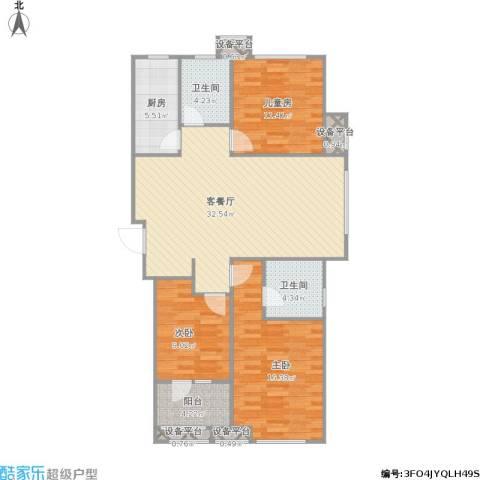 肯彤国际3室1厅2卫1厨123.00㎡户型图