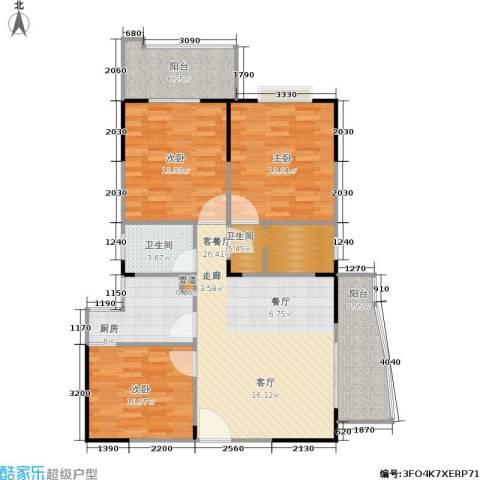 百盛・天心华庭3室1厅2卫1厨125.00㎡户型图