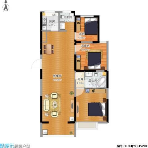 海纳・现代城二期3室1厅2卫1厨119.00㎡户型图