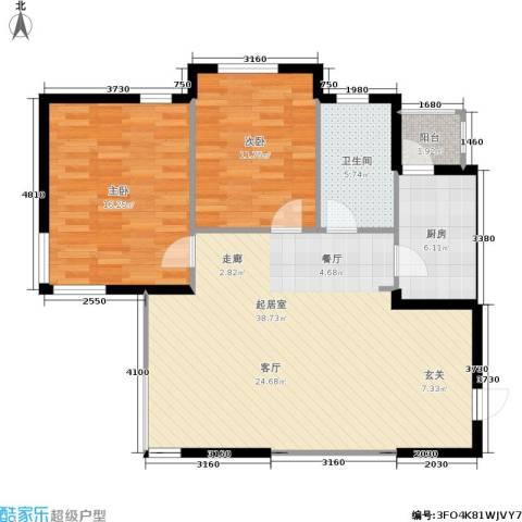 南石源居2室0厅1卫1厨88.00㎡户型图