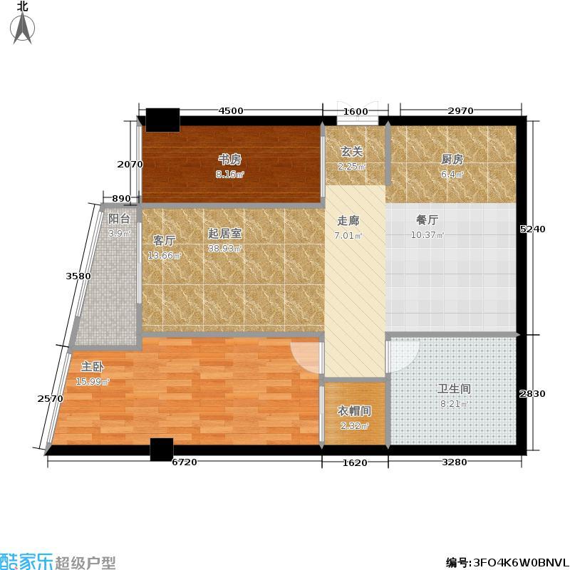 百富琪A户型 2房2厅1厨1卫1阳台 84.71㎡户型