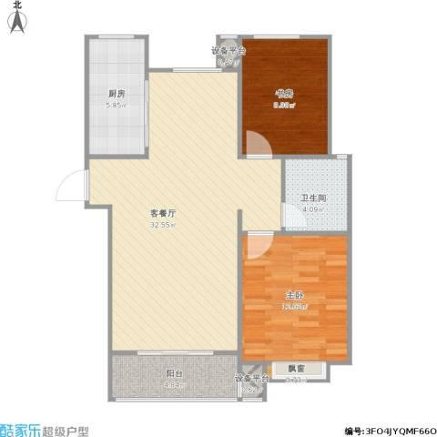 外滩森林2室1厅1卫1厨95.00㎡户型图