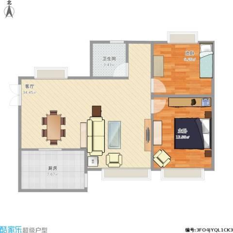 京贸国际城2室1厅1卫1厨92.00㎡户型图