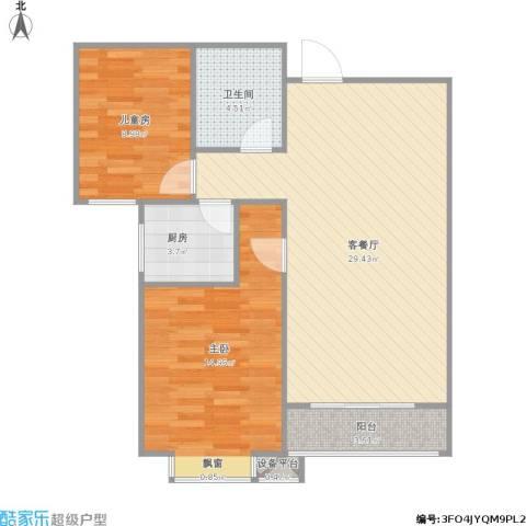 外滩森林2室1厅1卫1厨89.00㎡户型图