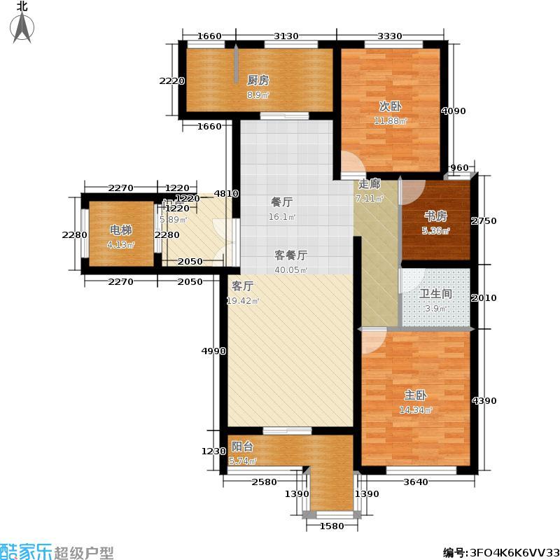 东尚一期户型3室1厅1卫1厨