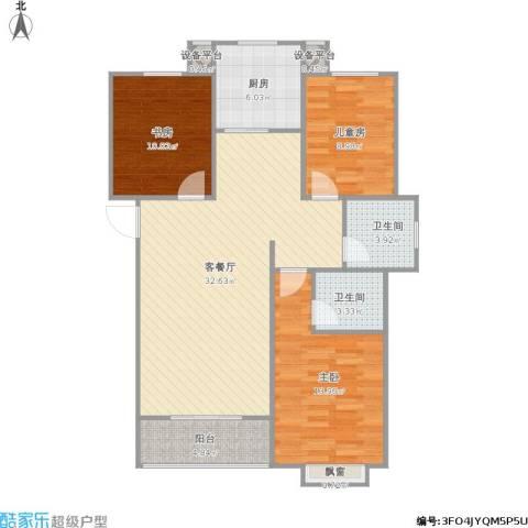 外滩森林3室1厅2卫1厨116.00㎡户型图