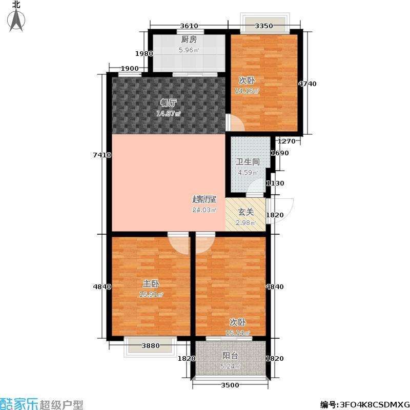 东方水岸三室二厅一卫 117.8平米户型
