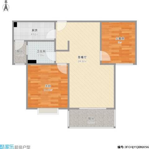 明天华城2室1厅1卫1厨81.00㎡户型图