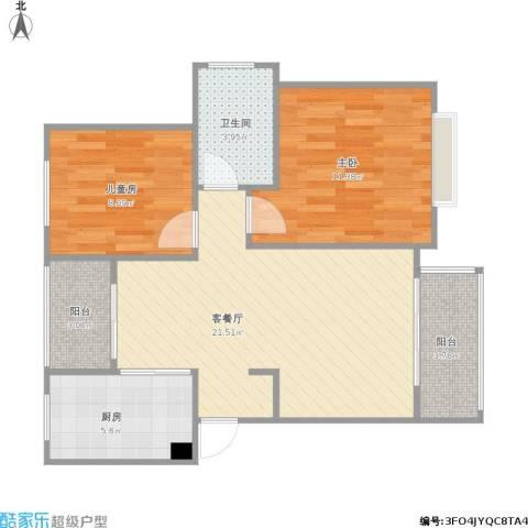明天华城2室1厅1卫1厨78.00㎡户型图