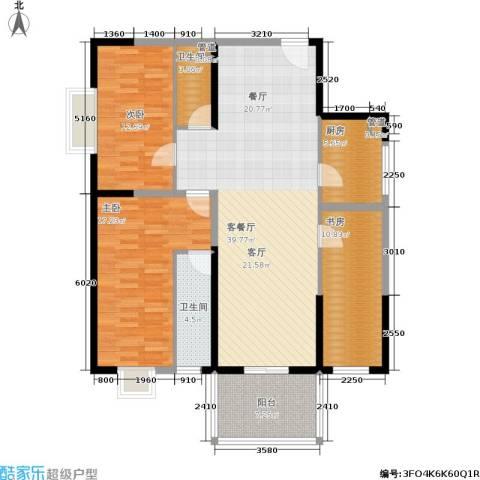 东城桃园一期3室1厅2卫1厨115.00㎡户型图