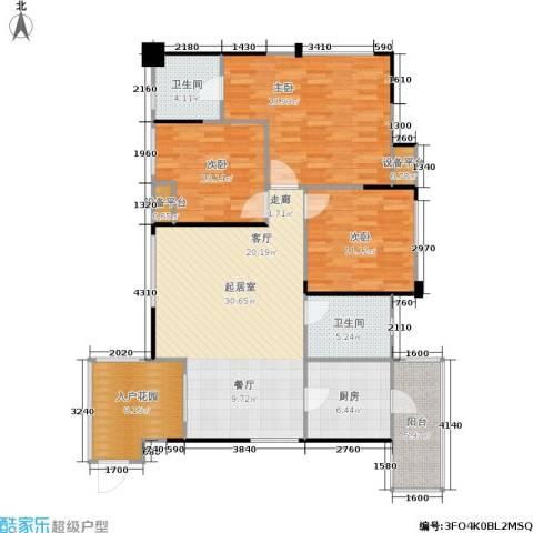 朗香郡 旭辉新里城 新里城3室0厅2卫1厨102.20㎡户型图
