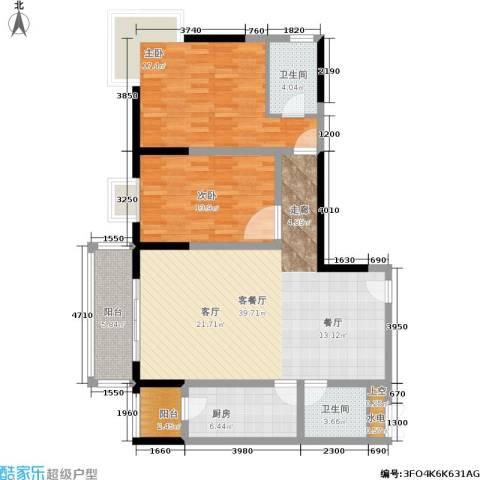 东城桃园一期2室1厅2卫1厨109.00㎡户型图