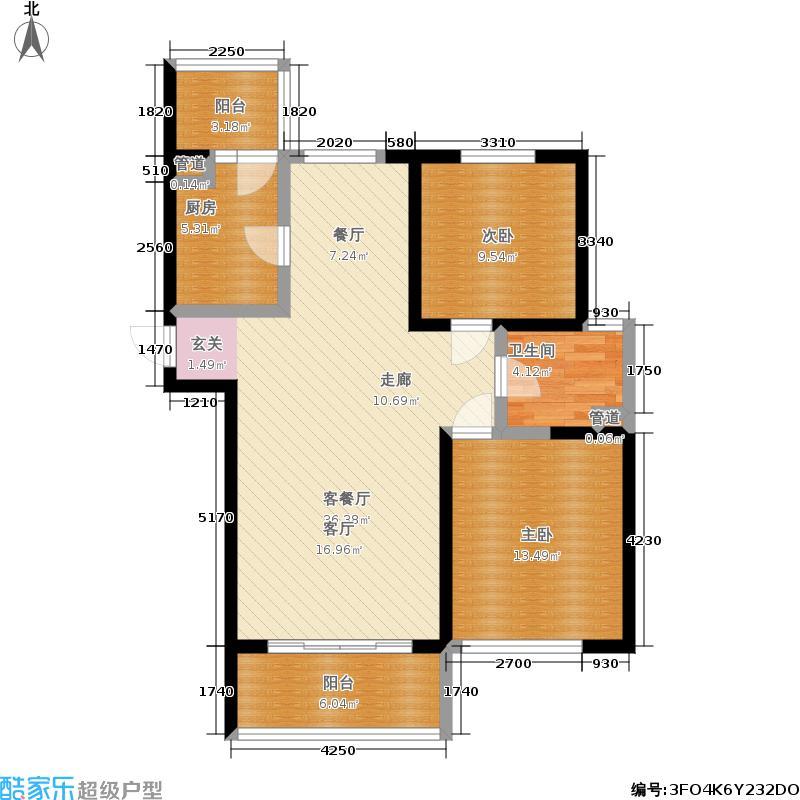 滨海名都114.00㎡B1户型 二室二厅一卫户型