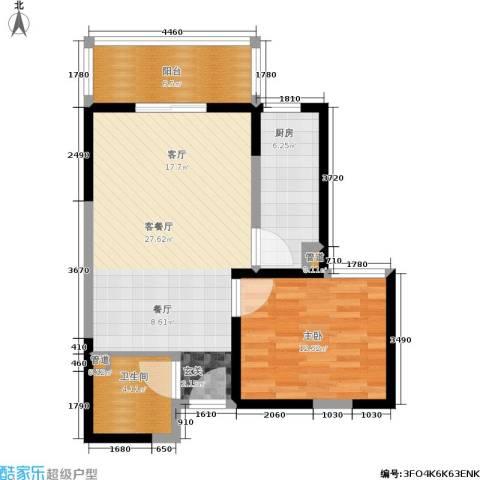 东城桃园一期1室1厅1卫1厨67.00㎡户型图