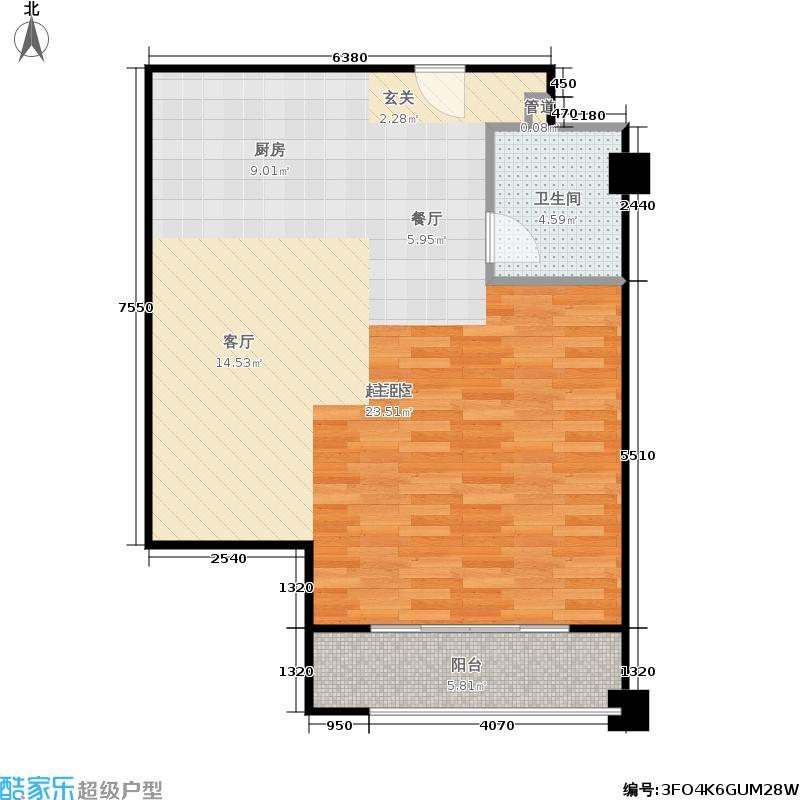 恒华科技园69.60㎡23号SOHO公寓标准层309室户型1室1厅1卫