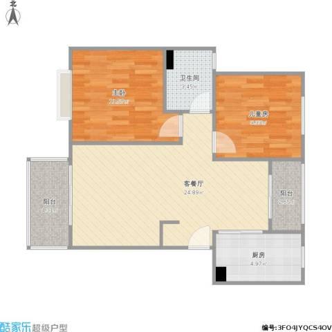 明天华城2室1厅1卫1厨84.00㎡户型图