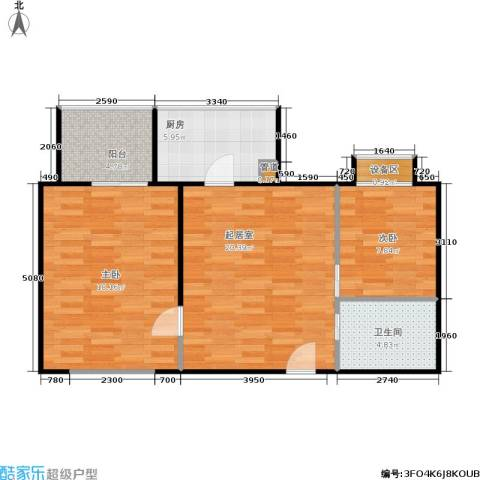 万华园 丽景华都2室0厅1卫1厨70.00㎡户型图