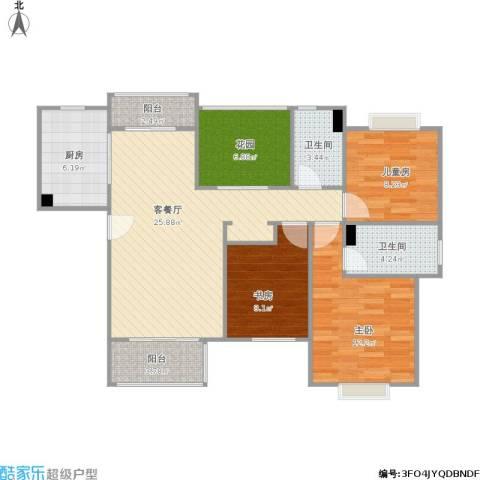 明天华城3室1厅2卫1厨112.00㎡户型图