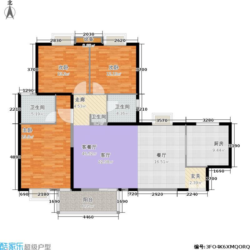 枫林绿洲一期户型3室1厅2卫1厨