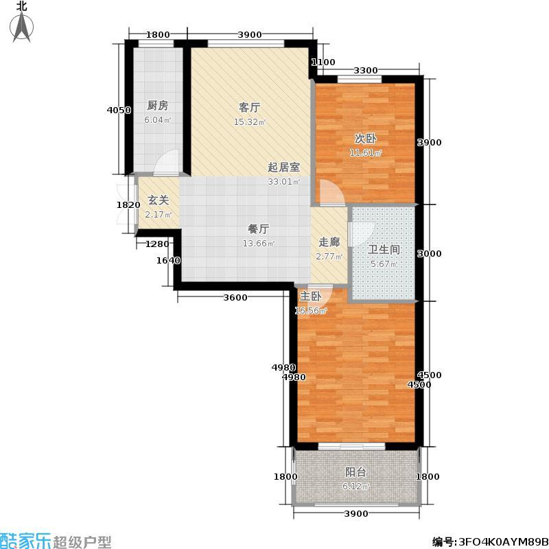 泉城花园户型2室1卫1厨