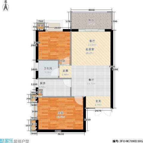 hello前城2室0厅1卫1厨91.00㎡户型图