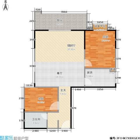 百盛・天心华庭2室1厅1卫1厨96.00㎡户型图