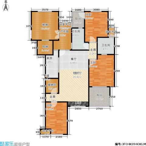 阳光新城三期3室1厅2卫1厨157.00㎡户型图