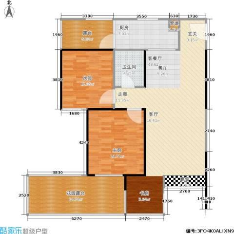 阳光新城三期2室1厅1卫1厨138.00㎡户型图