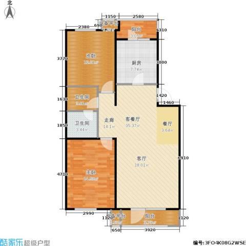万科新榆公馆二期2室1厅2卫1厨113.00㎡户型图
