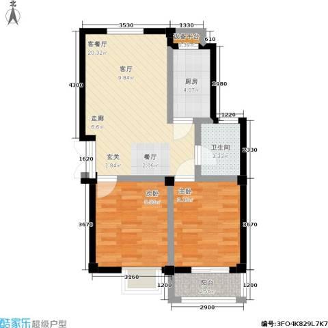 128国际公寓2室1厅1卫1厨74.00㎡户型图