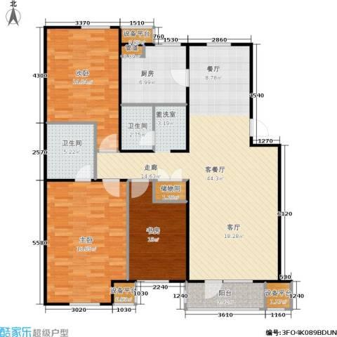 万科新榆公馆二期3室1厅2卫1厨150.00㎡户型图