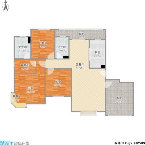 明天华城3室1厅2卫1厨146.00㎡户型图